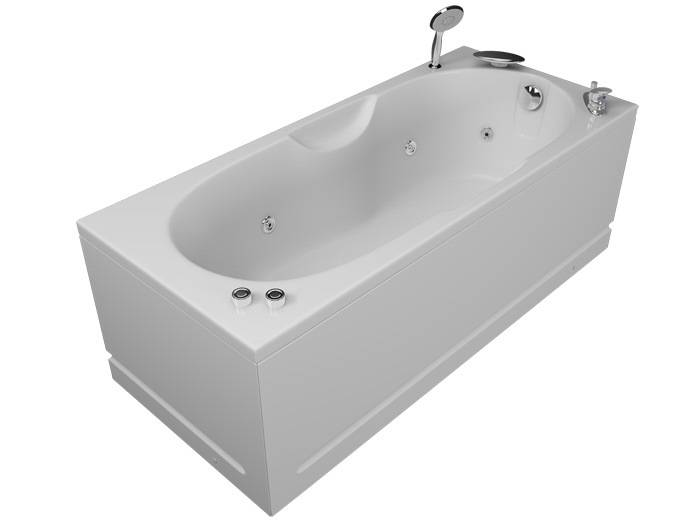 Лира БазикВанны<br>Акриловая ванна Aquatika Лира. В комплекте: чаша ванны, жесткая рама - каркас, гидромассаж (пневматическое управление, 6 форсунок), слив-перелив.<br>