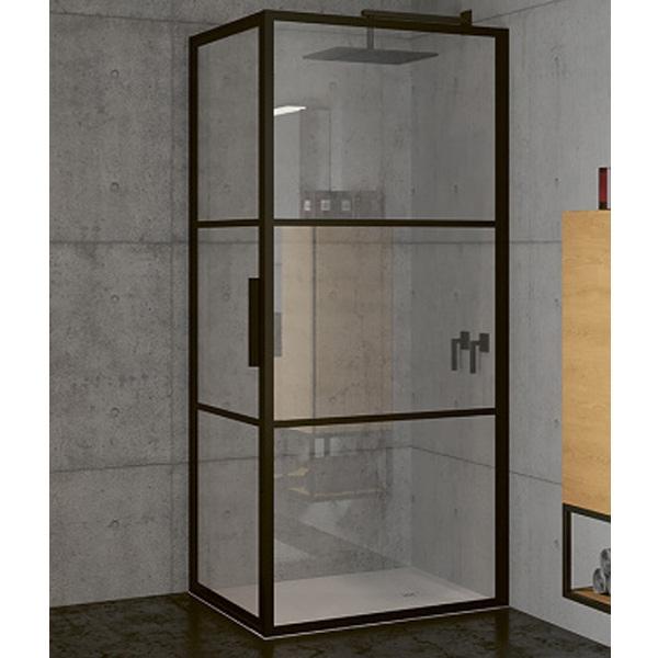 Душевой уголок Riho Grid 90x90 профиль Черный стекло прозрачное комплектующие ограждения riho шторка душевая hamar quadrant 90x90 r55 gr33200