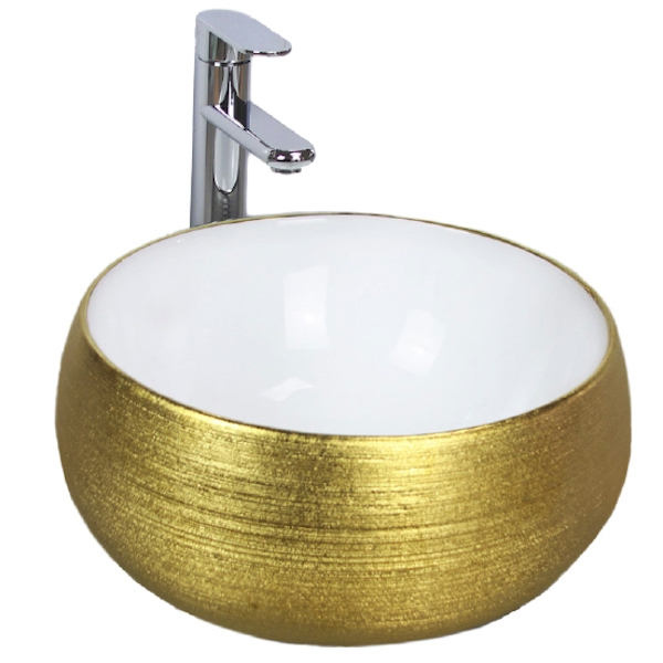 Раковина Melana 40 MLN-A373L Белая, Золото раковина melana 52 mln 7459sj золото