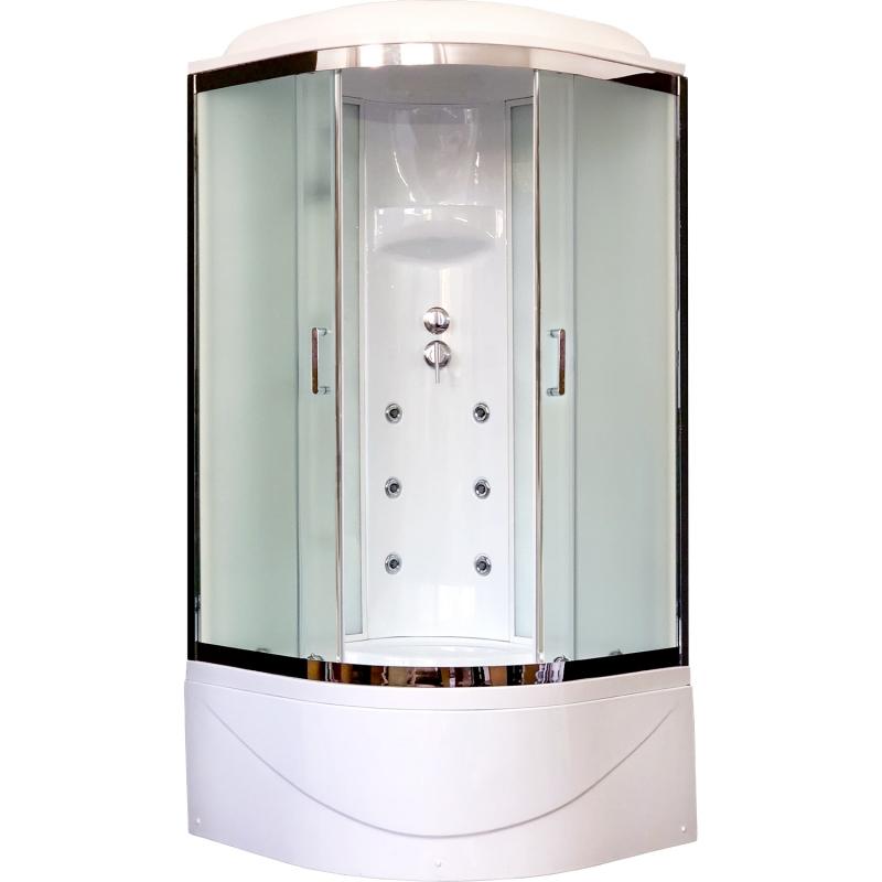Душевая кабина Royal Bath ВК 100x100 RB100BK3-WC-CH с гидромассажем стекло матовое задняя стенка Белая душевая кабина royal bath bk 100х100 rb100bk3 wc с гидромассажем