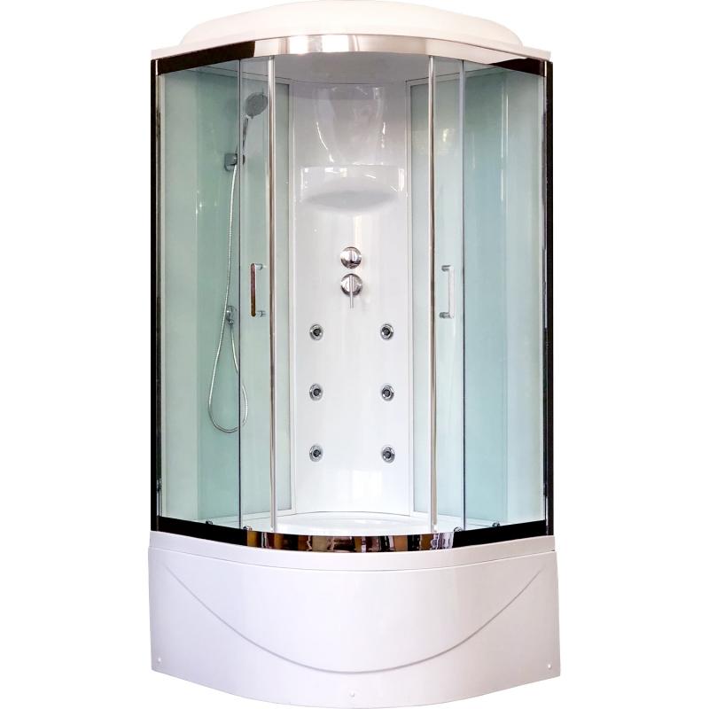 Душевая кабина Royal Bath ВК 100x100 RB100BK3-WT-CH с гидромассажем стекло прозрачное задняя стенка Белая душевая кабина royal bath bk 100х100 rb100bk3 wc с гидромассажем