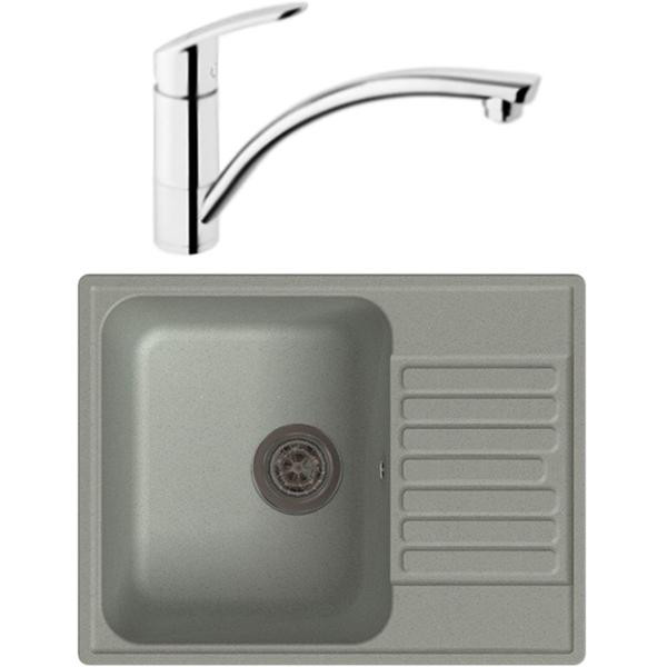 GranFest Quarz GF-Z13 со смесителем для кухни Vitra Dynamic S A42086EXP Серый Хром vitra смесительvitra dynamic s a42086exp для кухонной мойки