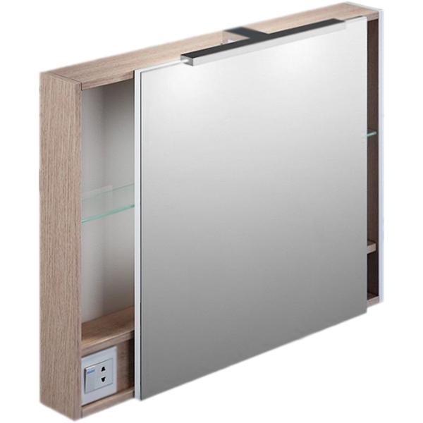Зеркальный шкаф Iddis Mirro 80 с подсветкой 1 дверца Светлое дерево