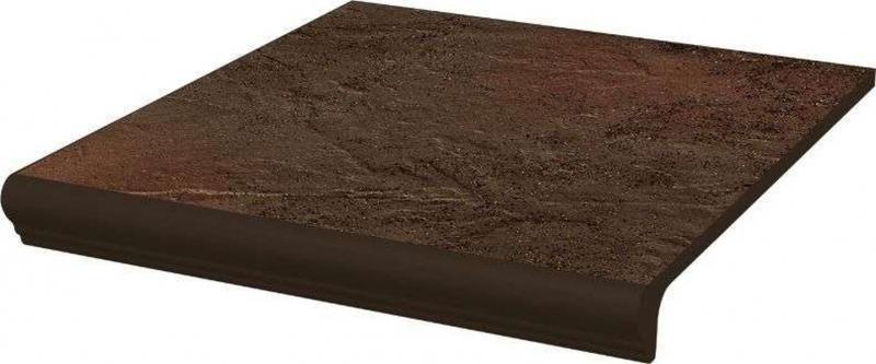 Ступень простая Ceramika Paradyz Semir Brown с носиком структурная 30х33 см