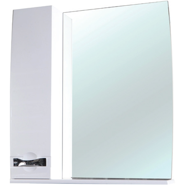 Зеркальный шкаф Bellezza Абрис 65 с подсветкой L Белый зеркальный шкаф bellezza альфа 55 с подсветкой l белый