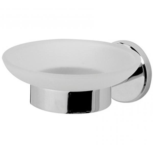 Sense A7534200 ХромАксессуары для ванной<br>Стеклянная мыльница AM PM Sense A7534200 с настенным держателем. В основе дизайна лежит форма круга. Мыльница – матовое стекло, крепежи хромированные.<br>