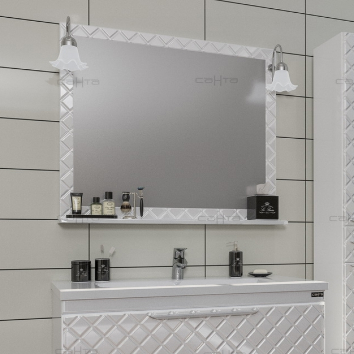 Зеркало СанТа Калипсо 100 2 навесных светильника Белая