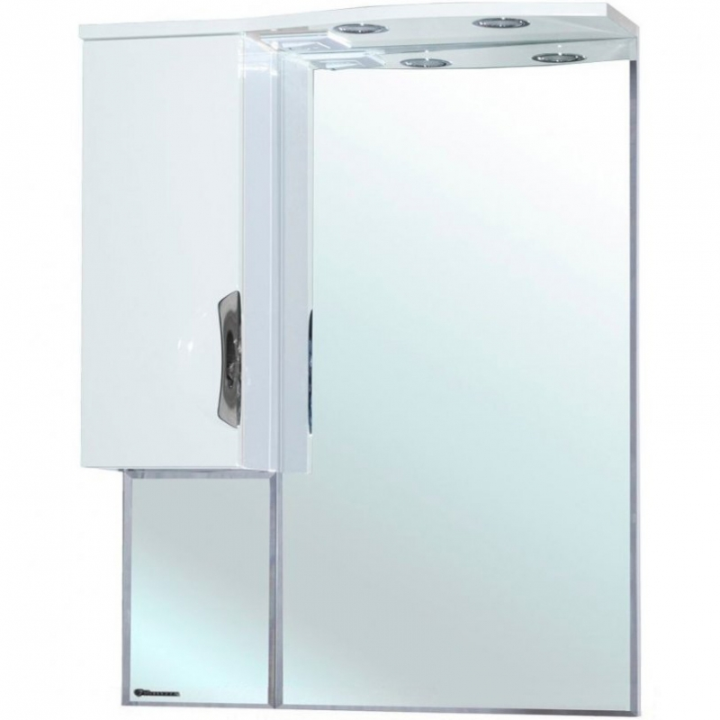 Зеркальный шкаф Bellezza Лагуна 65 с подсветкой L Бежевый Белый зеркальный шкаф bellezza астра 55 с подсветкой l бежевый