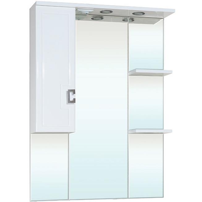 Зеркальный шкаф Bellezza Миа 75 с подсветкой L Белый зеркальный шкаф bellezza миа 85 с подсветкой l белый