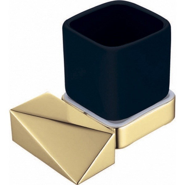 Стакан для зубных щеток Boheme New Venturo 10314-G-B Золото, Черный стакан для зубных щеток boheme chiaro 10504 золото
