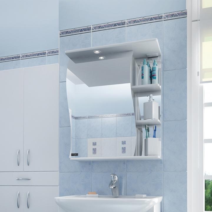 Зеркальный шкаф СанТа Волна 55 с подсветкой L Белый зеркальный шкаф bellezza лагуна 105 с подсветкой бежевый белый