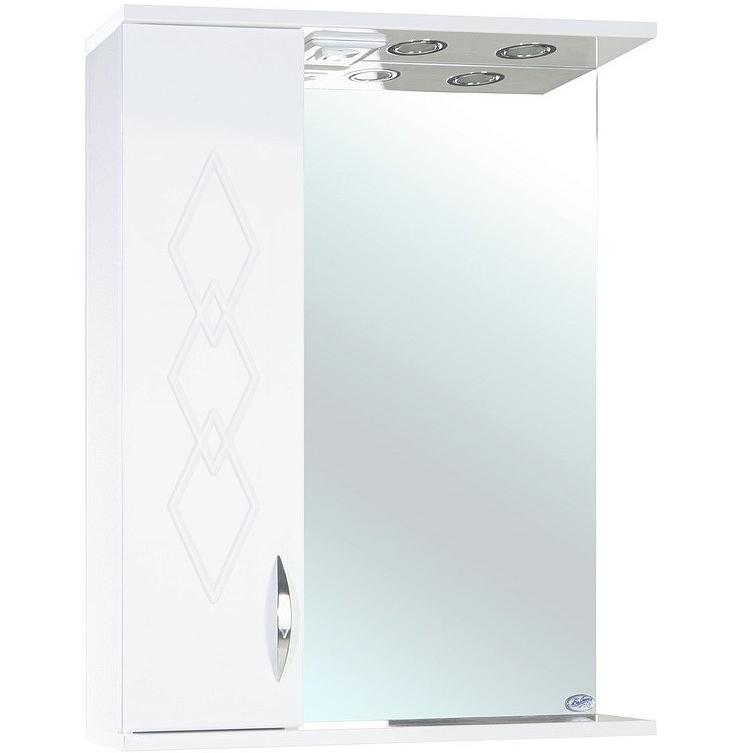 Зеркало со шкафом Bellezza Элеганс 60 с подсветкой R Белое зеркальный шкаф bellezza элеганс 60 с подсветкой r белый