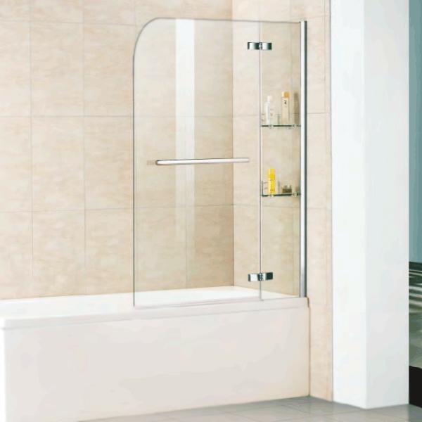 Шторка на ванну WeltWasser WW100 D2AK 100 с полотенцедержателем и полками 10000001237 профиль Хром стекло прозрачное