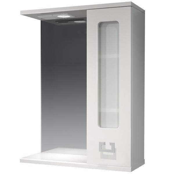 Зеркальный шкаф Какса-А Витраж 55 R 003239 с подсветкой Белый зеркальный шкаф какса а витраж 62 l 003314 с подсветкой белый