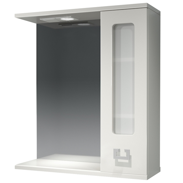Зеркало со шкафом Какса-А Витраж 62 R 003315 с подсветкой Белое зеркальный шкаф какса а витраж 62 r 003315 с подсветкой белый