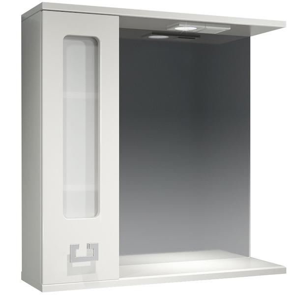 Зеркало со шкафом Какса-А Витраж 70 L 003240 с подсветкой Белое зеркало со шкафом какса а классик д 120 004080 с подсветкой белое серебро