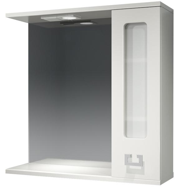 Зеркало со шкафом Какса-А Витраж 70 R 003241 с подсветкой Белое зеркало со шкафом какса а классик д 120 004080 с подсветкой белое серебро