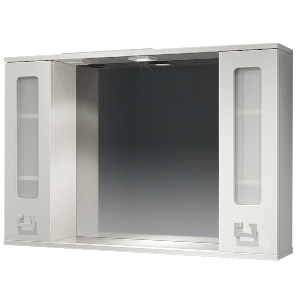 Зеркало со шкафом Какса-А Витраж 105 003376 с подсветкой Белое зеркало со шкафом какса а классик д 120 004080 с подсветкой белое серебро