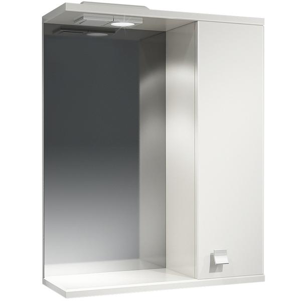 Зеркальный шкаф Какса-А Домино 55 R 003196 с подсветкой Белый зеркальный шкаф какса а астра 55 r 001837 с подсветкой белый