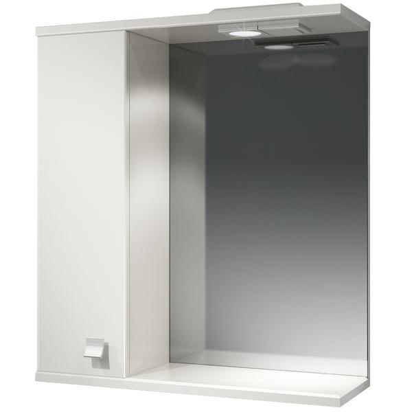 Зеркальный шкаф Какса-А Домино 62 L 003312 с подсветкой Белый зеркальный шкаф какса а витраж 62 l 003314 с подсветкой белый