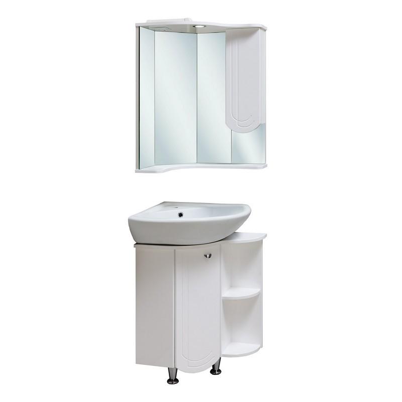 Мебель для ванной Runo Бис 55 угловая Белая тумба б раковины runo бис угловая c левым крылом