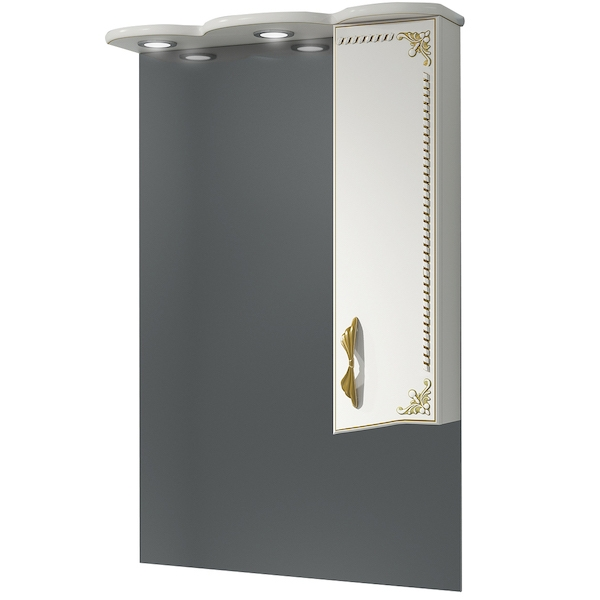 Зеркало со шкафом Какса-А Классик-Д 65 004074 с подсветкой Белое Золото зеркало со шкафом какса а классик д 120 004080 с подсветкой белое серебро