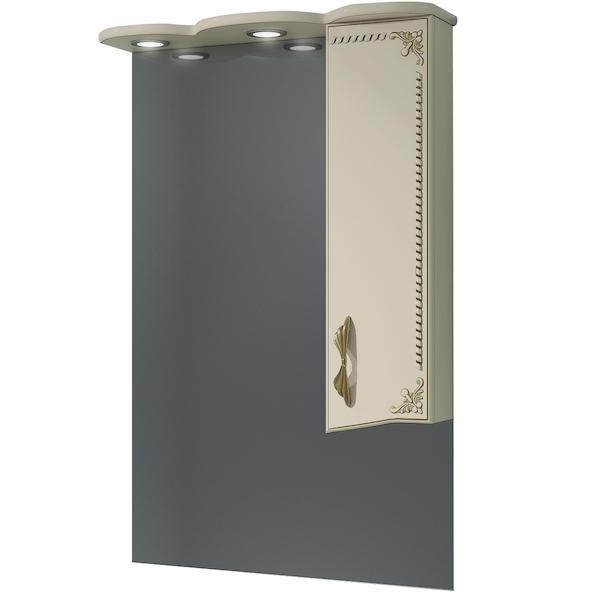 Зеркало со шкафом Какса-А Классик-Д 65 004233 с подсветкой Бежевый Золото зеркало со шкафом какса а классик д 120 004080 с подсветкой белое серебро