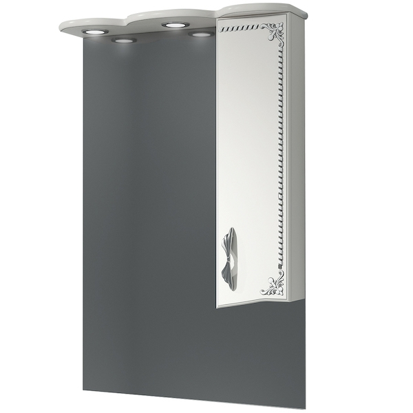 Зеркало со шкафом Какса-А Классик-Д 65 004075 с подсветкой Белое Серебро зеркало со шкафом какса а классик д 120 004080 с подсветкой белое серебро