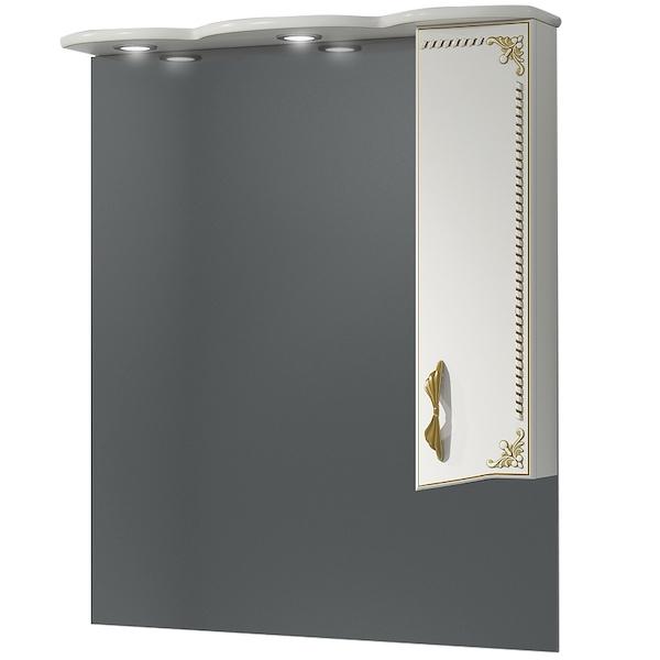 Зеркало со шкафом Какса-А Классик-Д 80 004076 с подсветкой Белое Золото зеркало со шкафом какса а классик д 120 004080 с подсветкой белое серебро
