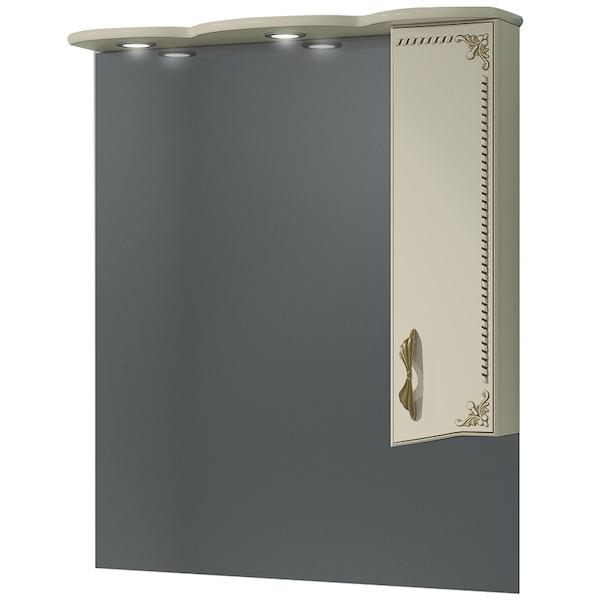 Зеркало со шкафом Какса-А Классик-Д 80 004234 с подсветкой Бежевый Золото зеркало со шкафом какса а классик д 120 004080 с подсветкой белое серебро