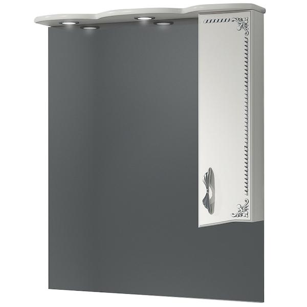 Зеркало со шкафом Какса-А Классик-Д 80 004077 с подсветкой Белое Серебро зеркало со шкафом какса а классик д 120 004080 с подсветкой белое серебро