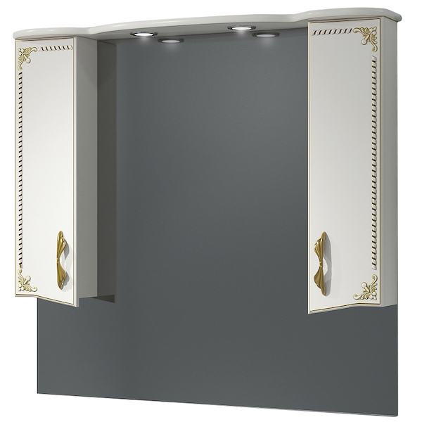 Зеркало со шкафом Какса-А Классик-Д 105 004055 с подсветкой Белое Золото зеркало со шкафом какса а классик д 120 004080 с подсветкой белое серебро