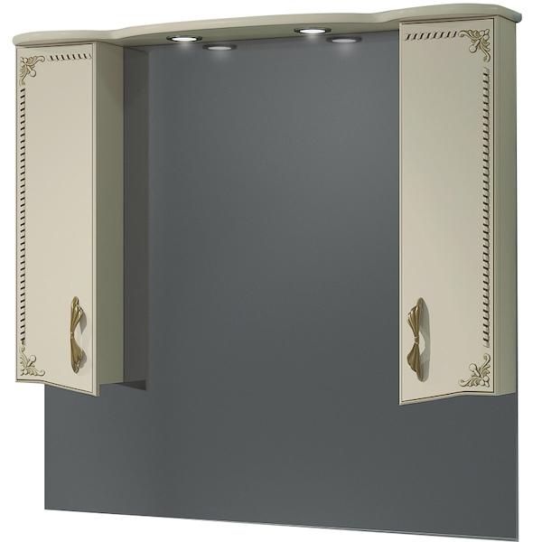 Зеркало со шкафом Какса-А Классик-Д 105 004235 с подсветкой Бежевый Золото зеркало со шкафом какса а классик д 120 004080 с подсветкой белое серебро