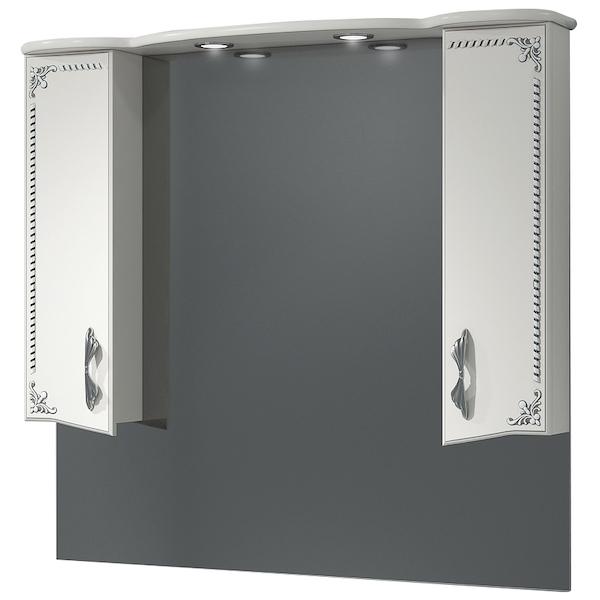 Зеркало со шкафом Какса-А Классик-Д 105 004070 с подсветкой Белое Серебро зеркало со шкафом какса а классик д 120 004080 с подсветкой белое серебро