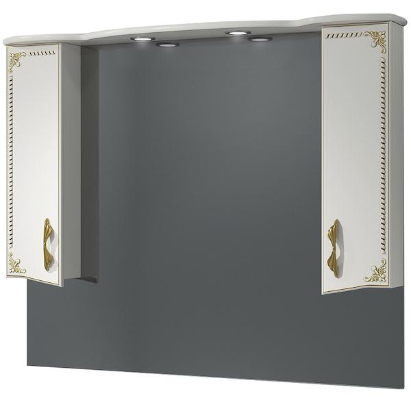 Зеркало со шкафом Какса-А Классик-Д 120 004056 с подсветкой Белое Золото зеркало со шкафом какса а классик д 120 004080 с подсветкой белое серебро