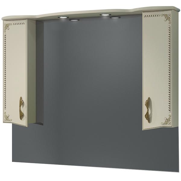 Зеркало со шкафом Какса-А Классик-Д 120 004240 с подсветкой Бежевый Золото зеркало со шкафом какса а классик д 120 004080 с подсветкой белое серебро