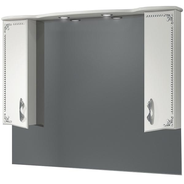 Зеркало со шкафом Какса-А Классик-Д 120 004080 с подсветкой Белое Серебро зеркало со шкафом какса а классик д 120 004080 с подсветкой белое серебро