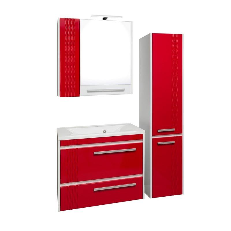 Мебель для ванной Runo Мира 75 Белая / Красная
