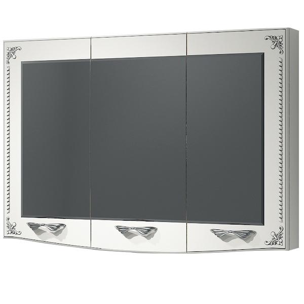 Зеркальный шкаф Какса-А Классик-Д 105 004110 Белый, Серебро зеркальный шкаф какса а сити 105 004418 подвесной серый гранит