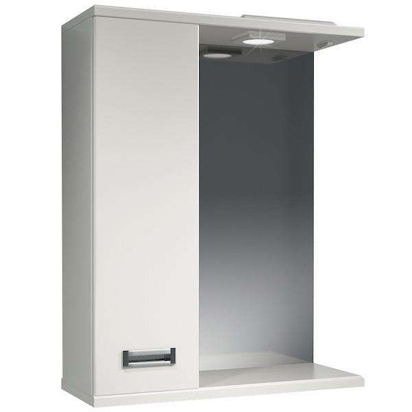 Зеркальный шкаф Какса-А Пикколо 55 L 003560 с подсветкой Белый зеркальный шкаф какса а астра 55 l 001838 с подсветкой белый