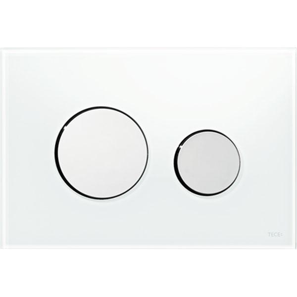 Кнопка смыва Tece Loop Glass 9240660 для унитаза Белая Хром глянцевый кнопка смыва tece square ii 9240832 для унитаза белая