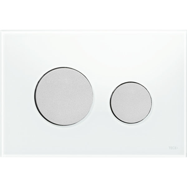 Кнопка смыва Tece Loop Glass 9240659 для унитаза Белая Хром матовый фото