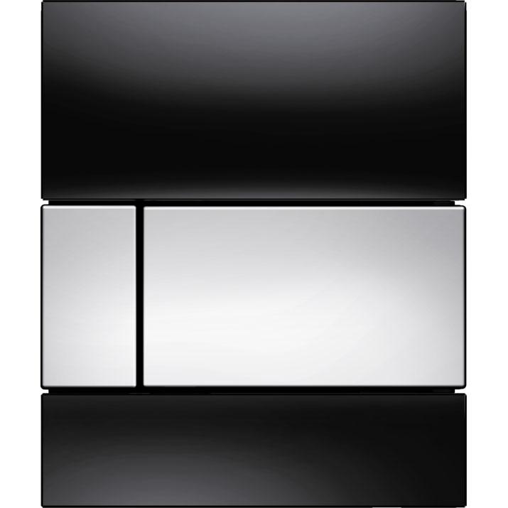 Кнопка смыва Tece Square Urinal 9242807 для писсуара Черная Хром глянцевый фото