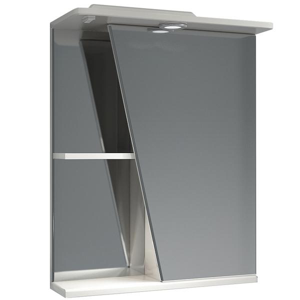 Зеркальный шкаф Какса-А Астра 55 R 001837 с подсветкой Белый зеркальный шкаф какса а витраж 62 r 003315 с подсветкой белый