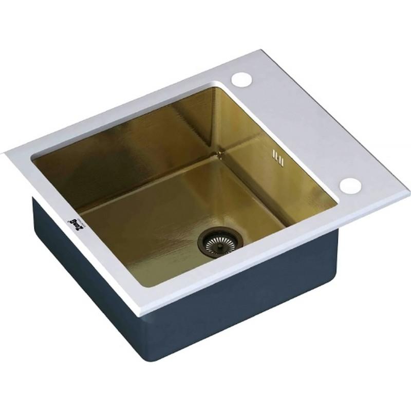 Кухонная мойка ZorG Glass GL-6051-WHITE-BRONZE Черный / Белый