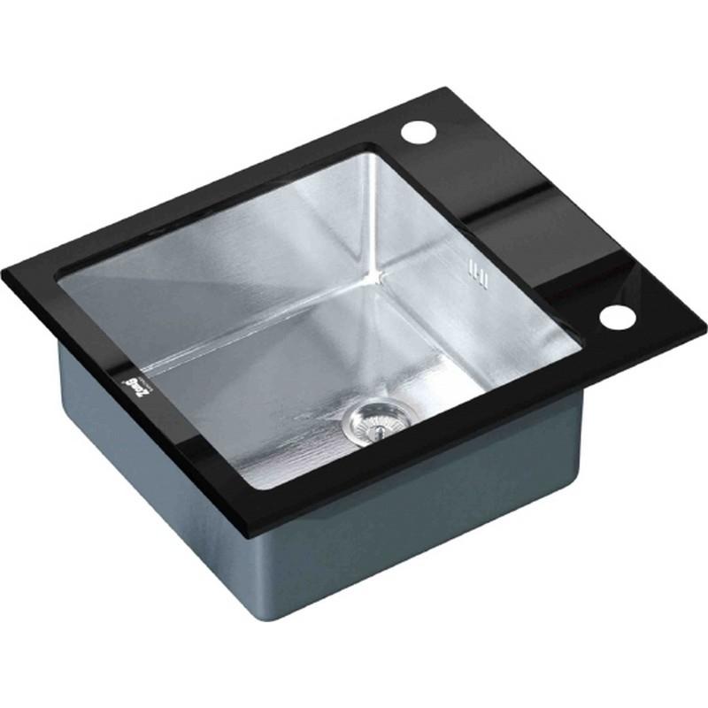 Кухонная мойка ZorG Glass GL-6051-BLACK Черный / Хром