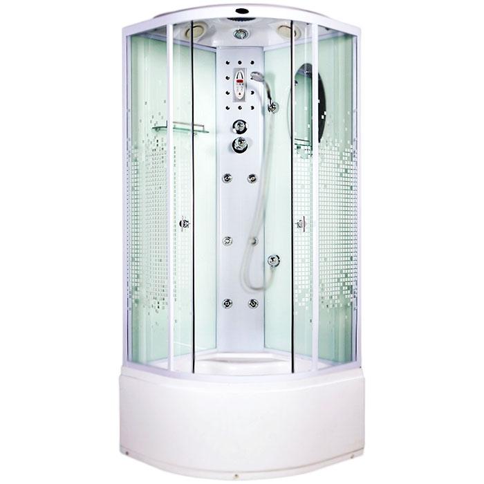 Душевая кабина Niagara NG-308 85x85 стекло Мозаик задние стенки Белые комплектующие