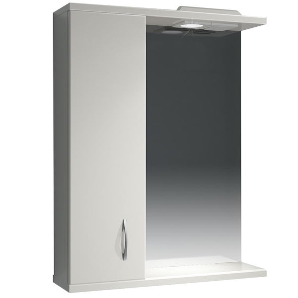 Зеркальный шкаф Какса-А Эко 55 L 003603 с подсветкой Белый зеркальный шкаф какса а астра 55 l 001838 с подсветкой белый