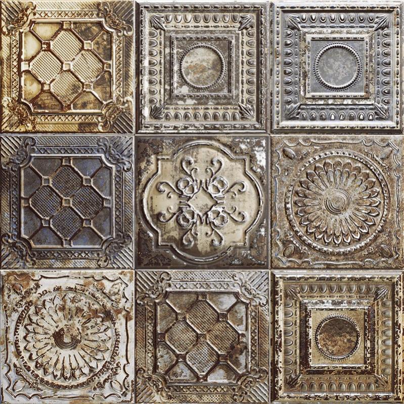 Керамическая плитка Mainzu Tin-Tile Rusty Mix настенная 20х20 см керамическая плитка mainzu tin tile cream настенная 20х20 см
