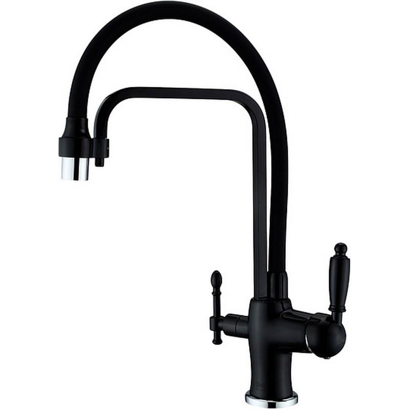 Смеситель для кухни ZorG Sanitary ZR 342-6 YF BLACK Чёрный цена